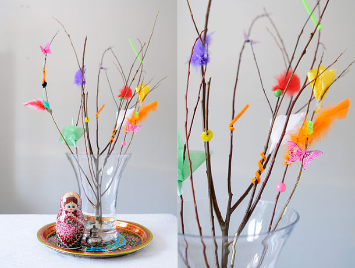 Decorated twigs from Easter witches
