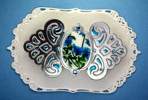 Faux Porcelain Barrette Blue