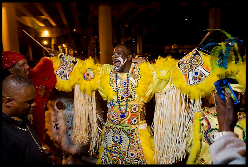 Fi-Yi-Yi and the 9th Ward Mandingo Warriors Big Chief Victor Harris on Saint Joseph's Night 2013. by Ryan Hodgson-Rigsbee (http://rhrphoto.com/)