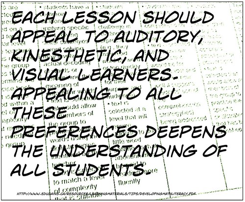 """Each lesson should appeal to auditory, kinesthetic, and visual learners. Appealing to all these preferences deepens the understanding of alll students."""