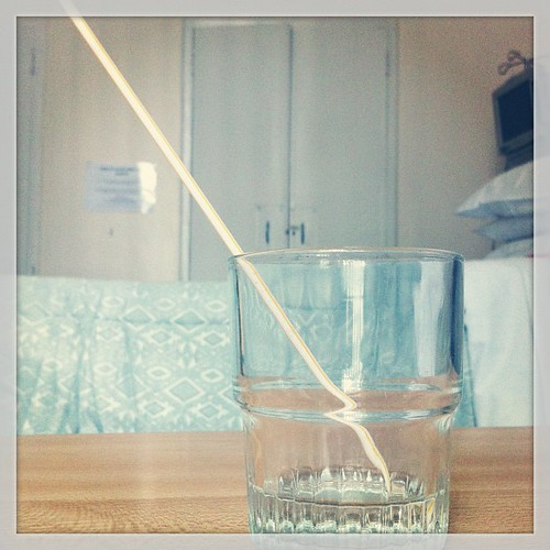 A very long #straw in a fairly short #glass. #hospitalfood