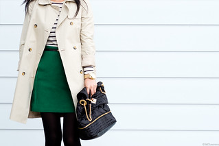 joe fresh green wool skirt, zara trench, nine west quilted purse