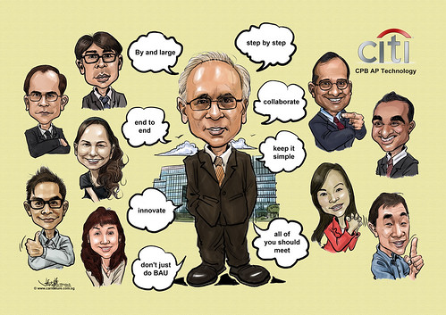 digital group caricatures for Citibank