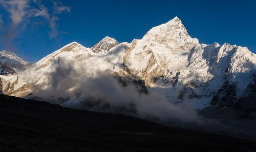 nepal sunset mountains trekking ngc himalaya everest kala nuptse patthar