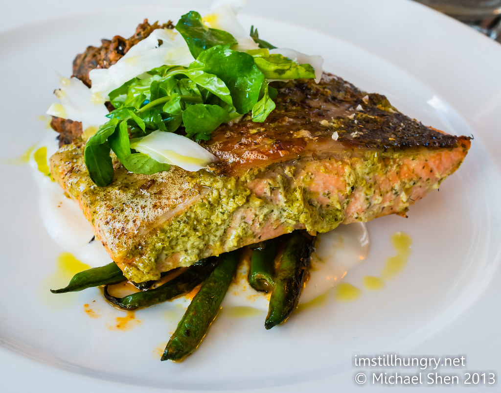 Cafe Sydney Tandoori roasted Tasmanian ocean trout, spinach bhaji, spiced beans, raita, coconut