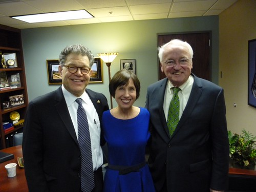 Left to right: Senator Al Franken joins Dr. Mary Story and Under Secretary Concannon after the nutrition roundtable at the University of Minnesota March 25. (photo credit: University of Minnesota)