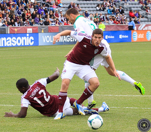 Dillon Powers (Rapids), Hendry Thomas (Rapids), Jack Jewsbury (Timbers), Colorado Rapids Host Portland Timbers at Dick's Sporting Goods Park Colorado by Corbin Elliott Photography