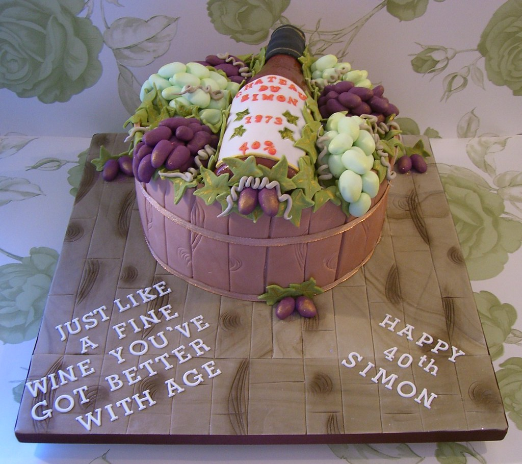 Wine Bottle And Grapes Cake