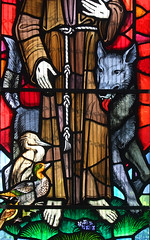 St Francis of Assisi's wolf, heron and duck (detail) by John Lawson, 1974