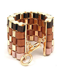 Your Fashion Jewellery - Brown Woven Link Fabric Toggle Bracelet