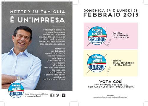 Cartolina di Maurizio Lupi sulla famiglia per le elezioni 2013