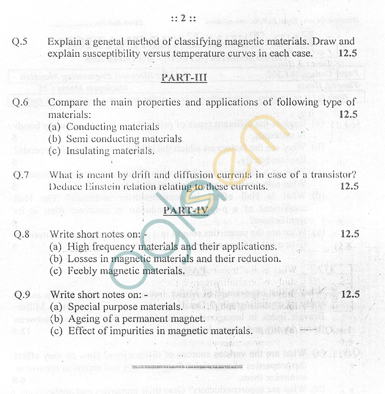 GGSIPU Question Papers Third Semester – End Term 2005 – ETEE-207