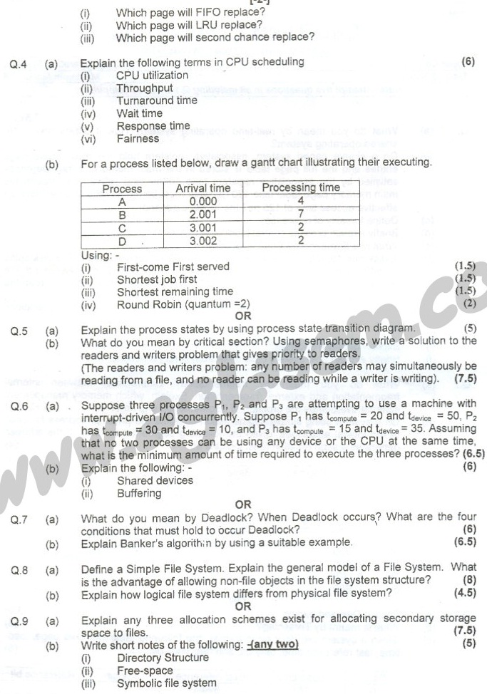 GGSIPU Question Papers Fourth Semester – end Term 2007 – ETCS_212
