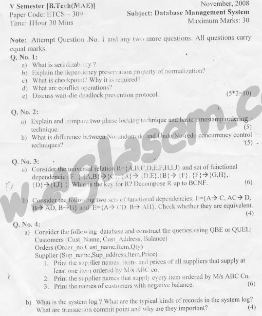 GGSIPU Question Papers Fifth Semester – Second Term 2008 – ETCS-309