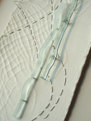 Edges: embossed paper, glass, stitch (detail)