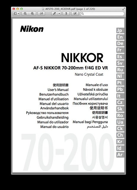 Nikon 70-200mm f/4G ED VR Manual