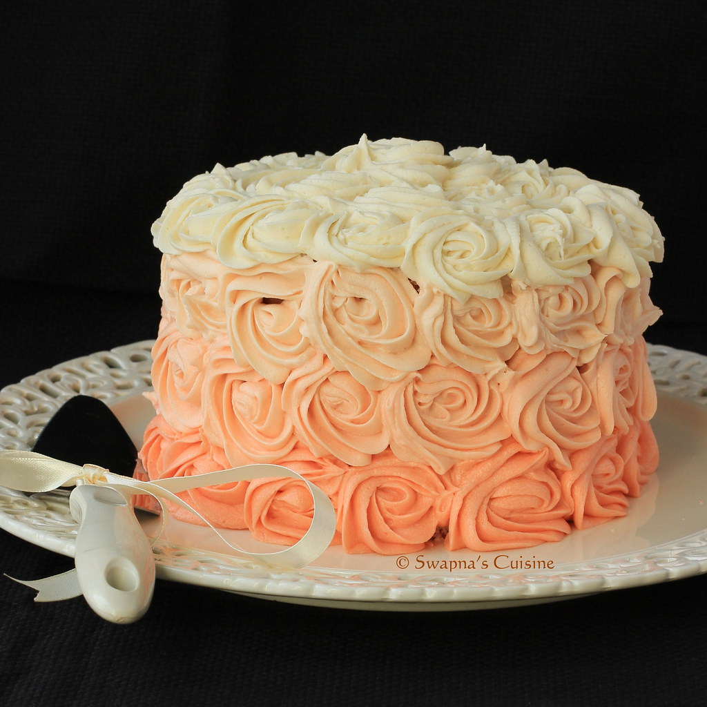 Swapna 39 s cuisine ombre rose cake recipe for Cuisine rose