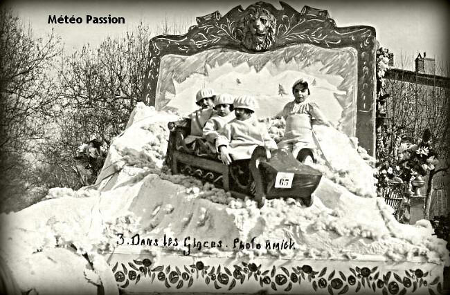 char du carnaval d'Aix en Provence illustrant la rigueur de février 1929 météopassion