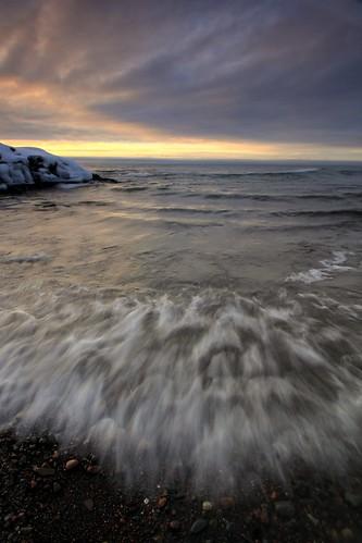 winter lake minnesota sunrise northshore lakesuperior