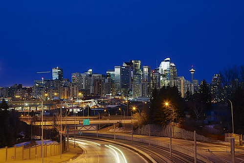 city longexposure blue trees winter sunset sky urban white canada reflection calgary skyline canon landscape alberta jpandersenimages