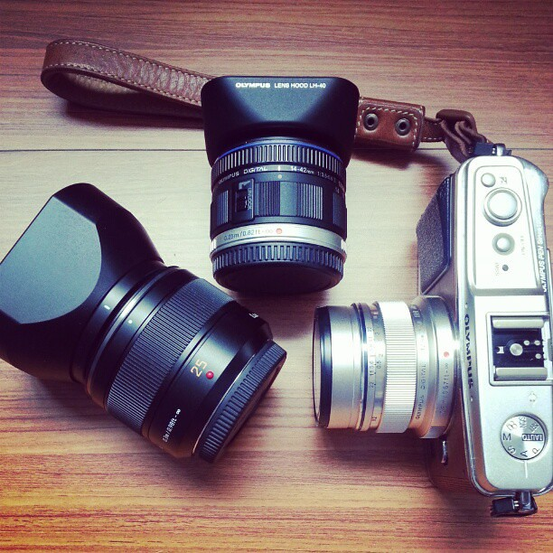 E-P1 with 12mm f2 + 50mm f1.4 + 14-42mm II