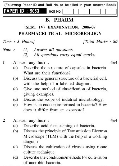 UPTU B.Pharm Question Papers PH-242 - Pharmaceutical Microbiology