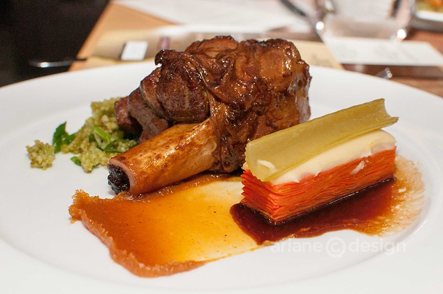 Braised lamb shank, carrot pavé, Meyer lemon marmalade