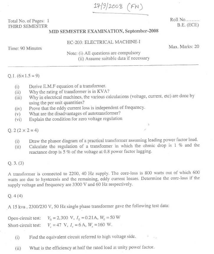 NSIT Question Papers 2008 – 3 Semester - Mid Sem - EC-203