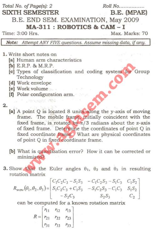 NSIT: Question Papers 2009 – 6 Semester - End Sem - MA-311