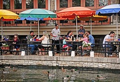 Busy at lunchtime, a San Antonio River Walk restaurant