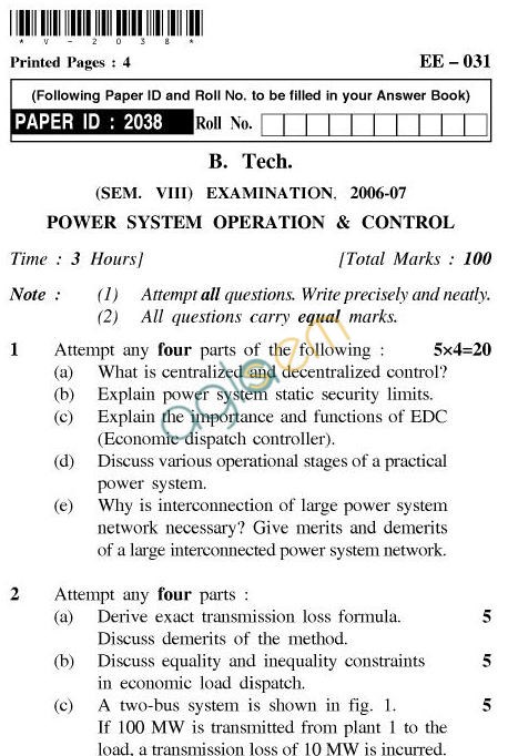UPTU B.Tech Question Papers - EE-031-Power System Operation & Control