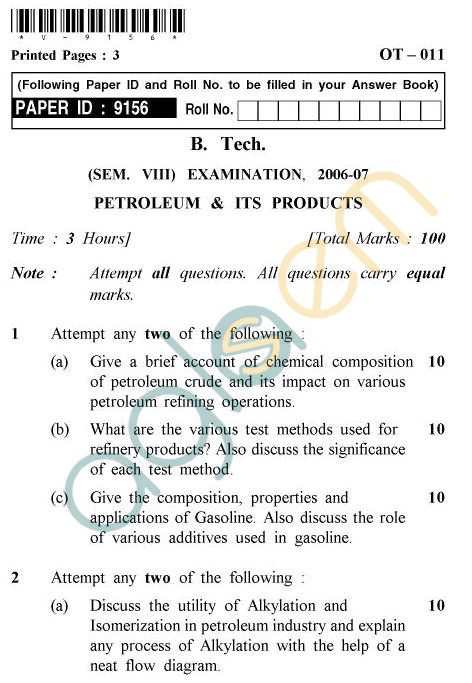 UPTU: B.Tech Question Papers - OT-011 - Petroleum & Its Products
