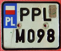 POLAND 2000's ---MOPED LICENSE PLATE with HOLOGRAM DECAL