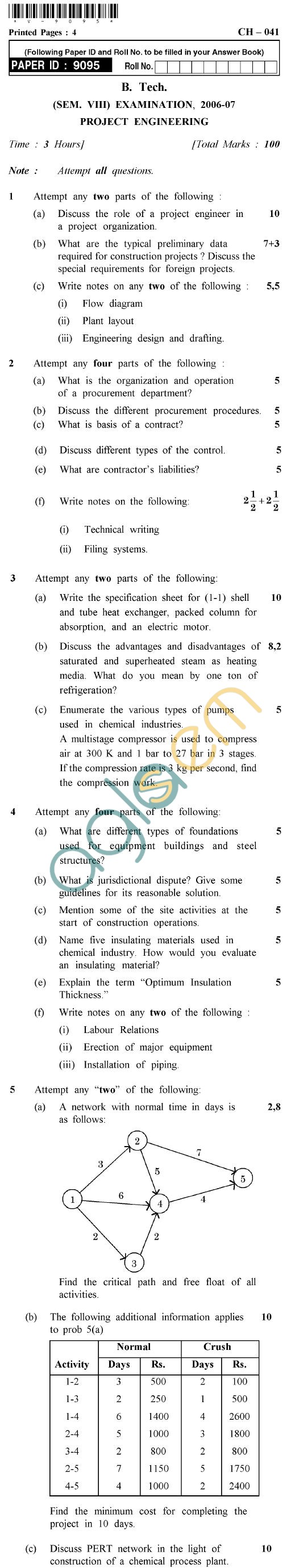 UPTU B.Tech Question Papers -CH-041 - Project Engineering