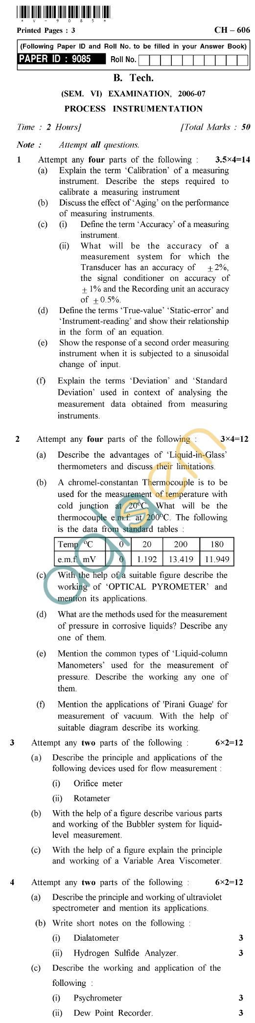 UPTU B.Tech Question Papers - CH-606 - Process Instrumentation