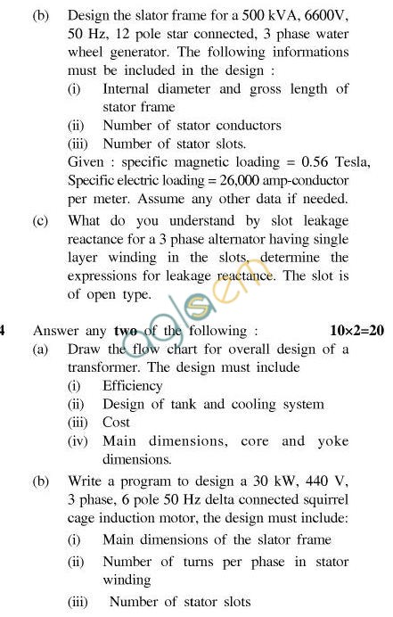 UPTU B.Tech Question Papers - EE-602/EE-603-Conventional & Computer Aided Design of Electrical Machines