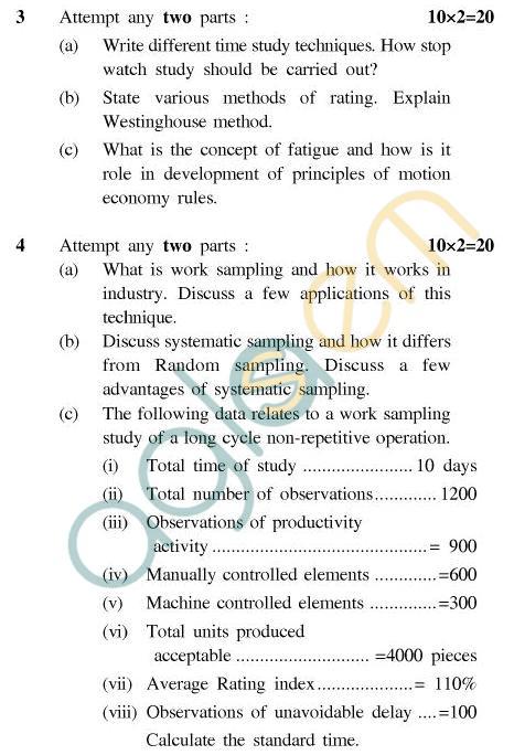 UPTU B.Tech Question Papers - TMT-601 - Time & Motion Study