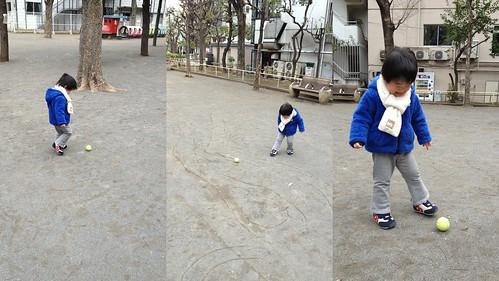 公園でテニスボールを蹴るよ^^ 2013/3/4