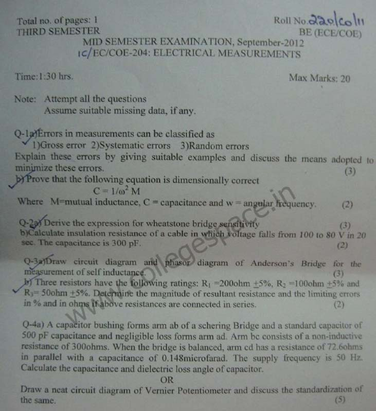 NSIT Question Papers 2012 – 3 Semester - Mid Sem - IC-EC-COE-204