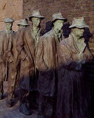 sculpture depicting a breadline during the great depression