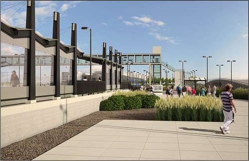 Rendering of 38th and Blake Street Station on the East Rail Line