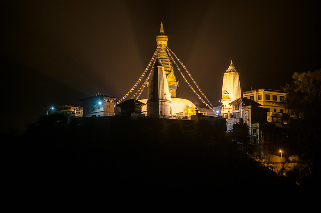 Rooftop view to Swayambuhnath Stupa at Night