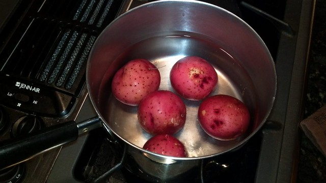 boiling potatoes