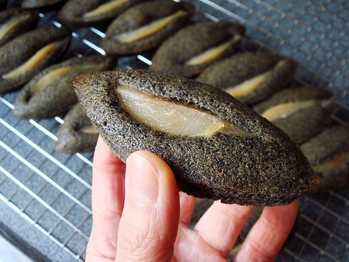 Black Sesame Financier with Poached Pear
