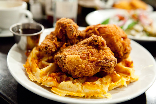 Fried Chicken and Waffles with a side of honey tobasco sauce