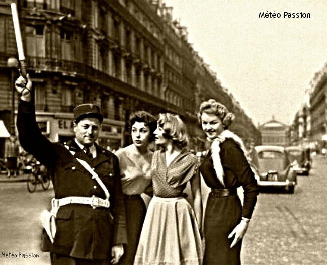avenue de l'Opéra à Paris lors du record de chaleur du 25 mars 1955 météopassion