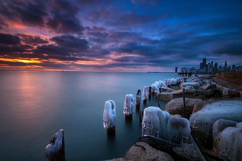 sun lake chicago tower ice beach water 30 skyline clouds sunrise dawn nikon rocks long exposure downtown michigan sigma nd hancock 1020mm trump fullerton willis density neutral d90 10stop