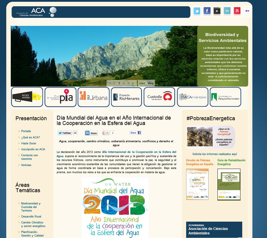 Web Asociación de Ciencias Ambientales (ACA)