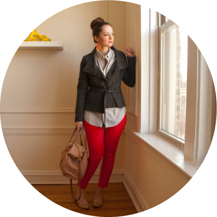 red pants with tweed