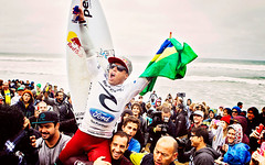 Adriano de Souza celebrates winning the 2013 Rip Curl Pro Bells Beach.